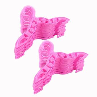 Harga OH 40 pcs Durable Plastic Coat Clothes Garment Trousers Hangers for Kids Baby Purple
