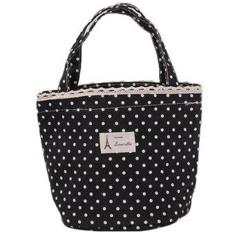 Harga Ai Home Portable Polka Dot Lunch Bag Cooler Bag Black