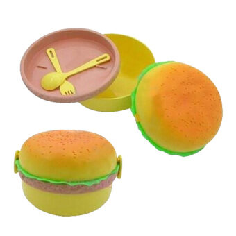 Harga Form plastic hamburger bento lunch box w fork and spoon