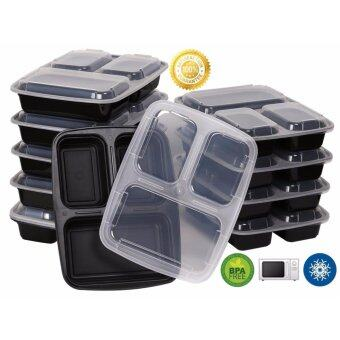 Harga Toprime Microwave Safe Food Containers with Lids/divided Plate/bento Box/lunch Tray with Cover, Black Bottem with Clear Cover (10 Pack) - intl