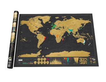 Harga chechang Novelty World Map Educational Scratch Off Map Poster Travel Map Wall Map,Black
