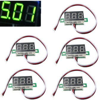 Mini DC 0-32V LED Panel Voltage Meter 3-Digital LED Display Voltmeter Motorcycle Green - intl