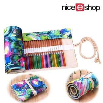 niceEshop Handmade Painting Pattern Canvas Pencil Wrap CreativePencil Holder Colored Pencil Roller , 36 Holes