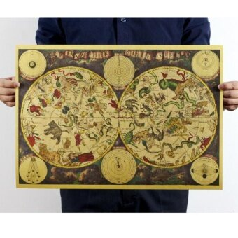 Vintage Retro Print Map Kraft Paper Antique Poster Wall Decor - intl