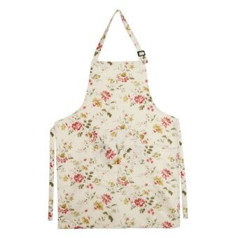 Women Kitchen Apron Dress with Pockets for Chef Waiter(Flower) -intl