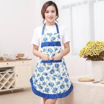 YBC Kitchen Printed Apron with Pockets Waterproof Floral Bib Blue -intl