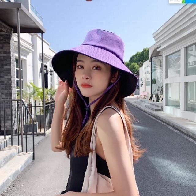 หมวกบักเก็ตสีพื้น หมวกปีกกว้าง ใส่ได้2ด้าน (มีเชือกแถมให้)