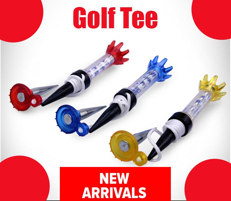Circle Cat ทีกอล์ฟแม่เหล็ก ที่ตั้งลูกกอล์ฟ ตัวตั้งลูกกอล์ฟ ยืดหยุ่น มีเชือกยึดฐานกันหล่นหาย ตัวตอกฐานสองอัน ยาว8cm. สีแบบสุ่ม Golf Tee.