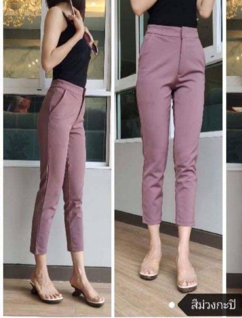 กางเกงผู้หญิง กางเกงทำงานขายาว 7 ส่วน เอวสูง ผ้าโรเชฟ ตะขอซิปหน้า ยาว 33 นิ้ว ผ้านิ่มใส่สบาย.