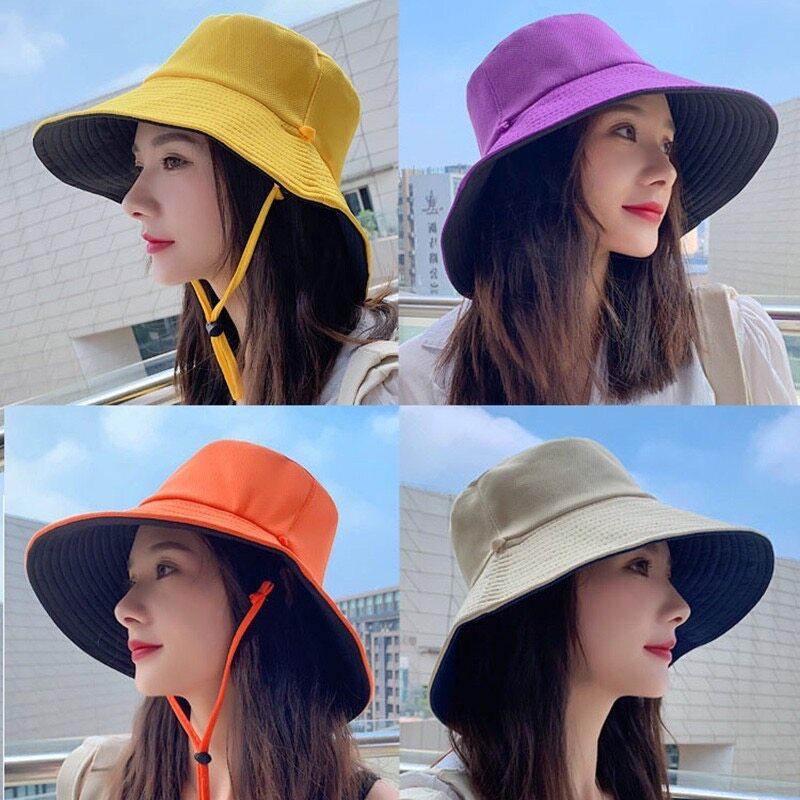 หมวกบักเก็ตสีพื้น หมวกปีกกว้าง ใส่ได้2ด้าน (มีเชือกแถมให้).