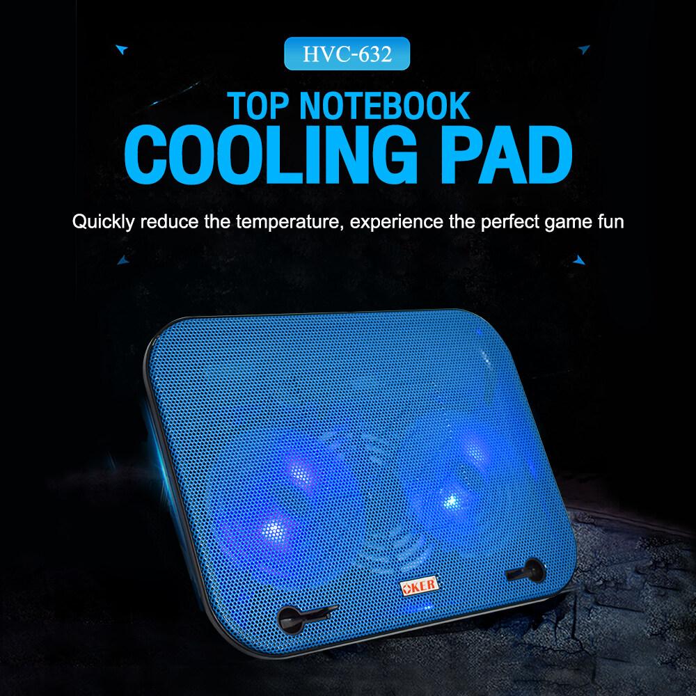 ?ส่งเร็ว?ร้านDMแท้ๆ Oker HVC-632 Notebook Cooler pad พัดลมรองโน๊ตบุ๊ค พัดลมระบายความร้อน cooling pad