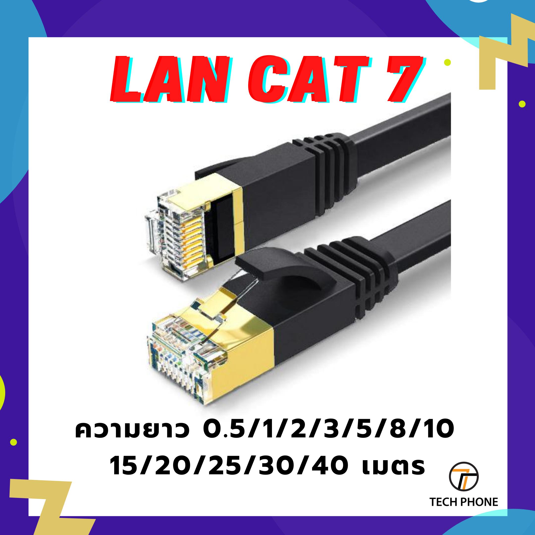 GGL สายแลน CAT 7 Lan cable 0.5 1 2 3 5 8 10 15 20 25 30 40 50 เมตร เข้าหัวสำเร็จรูป สายแบน สีดำ ลดการรบกวน CAT 7 LAN cable Ethernet Cable 10G Transmission 600MHZ High Speed Network