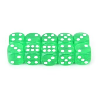 13mm 10pcs Transparent Six Sided Spot Dice Toys D6 Rpg Role PlayingGame Green - intl