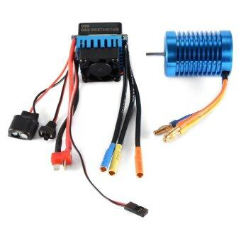 3650-4370KV 4P Slot Sensorless Brushless Motor with 45A ESC Electric Speed Controller for 1/10 RC Off-road Car