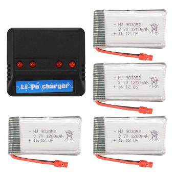 4X 1200mAh 3.7V Lipo Battery+4in1 USB Charger w/ Cable for SymaX5HW X5HC BC671