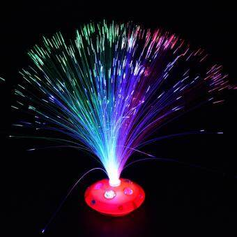 Colorful Changing LED Fiber Optic Night Light Lamp Stand HomeGarden Decor - intl