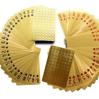 IBERL Gold Foil Plated Poker Playing Cards 52 Cards & 2 JokersGreat Gift - intl
