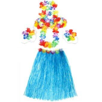 Harga Hot Dazzling Hawaiian Luau Party Decorations Costumes Set with 60CM Length Skirt + Headwear Headband + Lei Garland + Wristbands + Bra Blue