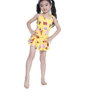 Harga IMAKA One-piece Cuter Girls Breathable Swimwear (Yellow) #63509 - intl