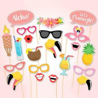 Harga 21pcs Flamingo Photo Booth Props Tropical Hawaiian Summer Hen Party Accessories - intl