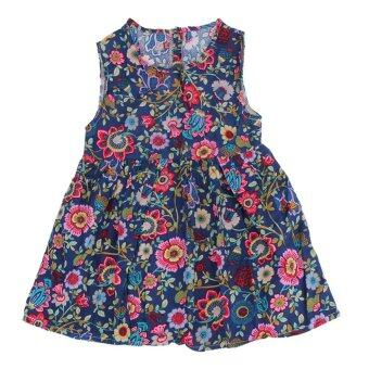 Harga Kids Girls Sleeveless Floral Princess Dress Spring Summer Dress