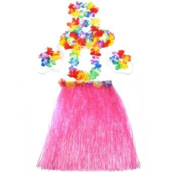 Harga Hot Dazzling Hawaiian Luau Party Decorations Costumes Set with 60CM Length Skirt + Headwear Headband + Lei Garland + Wristbands + Bra Pink