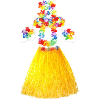 Harga Hot Dazzling Hawaiian Luau Party Decorations Costumes Set with 60CM Length Skirt + Headwear Headband + Lei Garland + Wristbands + Bra Yellow