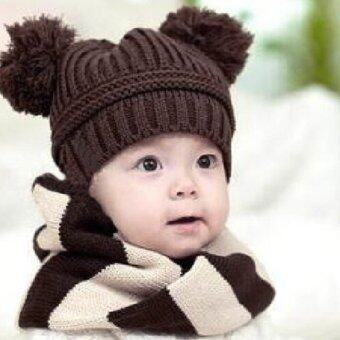 Harga Fashion Sweet Baby Kids Boys Girls Toddler Knitted Crochet Beanie Winter Hat Cap-coffee