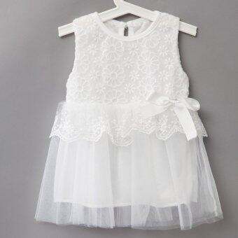 Harga Sweet Round Neck Sleeveless Solid Color Lace Gauze Baby Girls Dress - intl