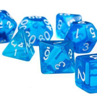 Harga BolehDeals 7Pcs Blue D4 D6 D8 D10 D12 D20 Dice Set For Dungeons And Dragons Game - intl