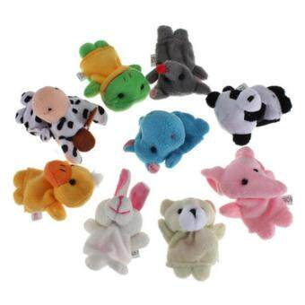 Harga 10pcs Cartoon Animal Finger Puppet Plush Toys Child Baby Favor Biological Dolls