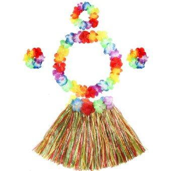 Harga 5pcs Kids Hawaiian Grass Hula Lei Skirt Flower Fancy Costume Set Holloween Beach