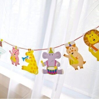 Harga 2M Cartoon Animal Birthday Decor Banner Kids Animal Big Happy Family Baby Shower Party Flags Brace Garland Striped Paper Flags