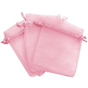 Harga 100 PCS Reusable Elegant Organza Drawstring Gift Candy Favor Bags Pouches for Wedding Party Festival Gift Jewelry Daily Cosmetic 3.5 x 4.7inch Pink - intl