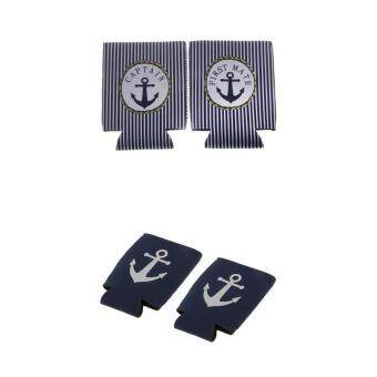 Harga MagiDeal 2 Pairs CAPTAIN FIRST MATE Anchor Beer Can Cooler Sleeve Holder Party Favor - intl