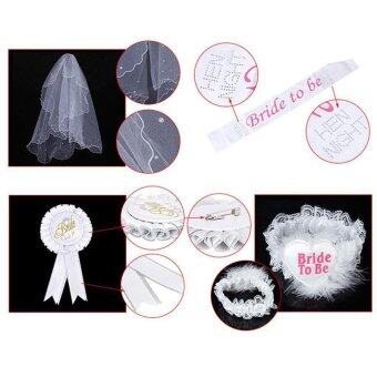 Harga Bride To Be White Rosette Badge Sash Lace Garter Veil Set Hen Night Party Do - intl