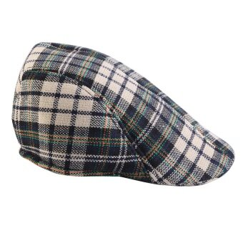 Kids Baby Cotton Plaid Design Berets Newsboy Caps British StyleBoys Girls Sun Hat(Blue Plaid) - intl