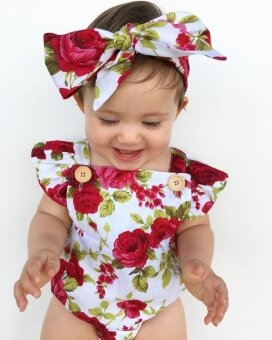 Toddler Square Collar Adjustable Flower one-pieces with flowerInfant baby Girls Summer Dress for 0