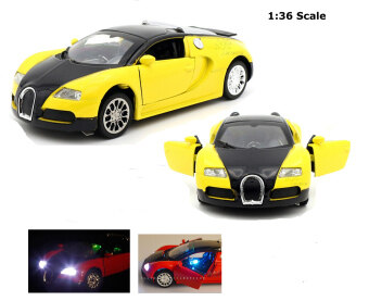 Top Gift 1:36 Fast&Furious 7 Bugatti Veyron Diecast Car ModelCollection with Sound&Light-Yellow