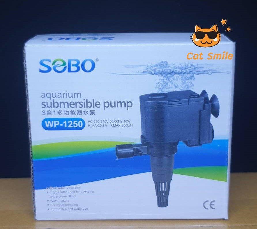 SOBO WP-1250 ปั้มน้ำตู้ปลา ปั้มจุ่มน้ำได้ บ่อปลา กำลังไฟ 10w 800 ลิตร/1ช.ม. WP1250 WP 1250 ปั๊มน้ำ ปั๊มแช่ ปั๊มน้ำพุ เหมาะกับตู้ 24-30 นิ้ว