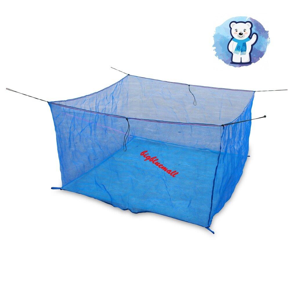 BigBlueMall มุ้งกระชังน้ำสีฟ้า เลี้ยงปลาเลี้ยงกบเลี้ยงกุ้ง แบบมีหู ขนาด 3*4*1.2 m รหัส 11870004
