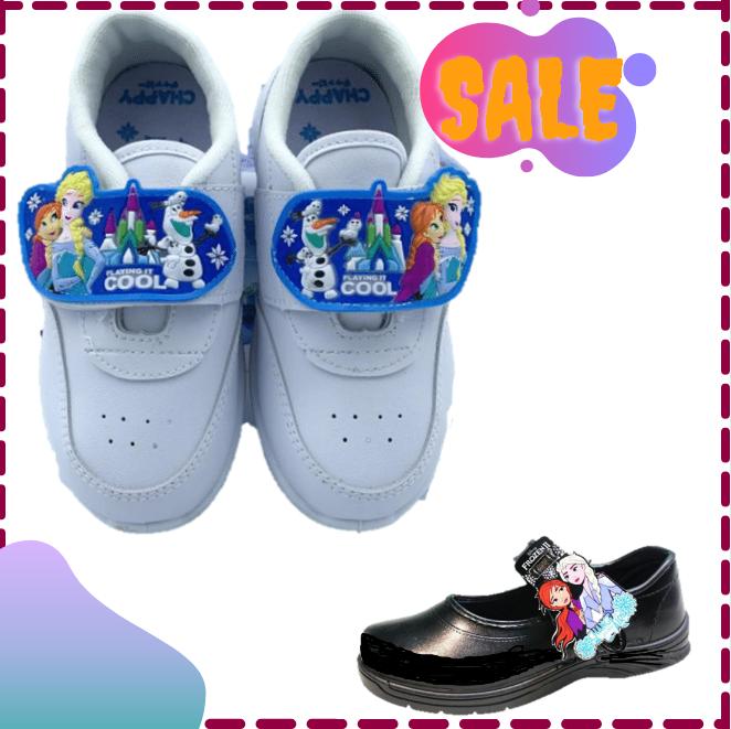 ?sale?เอลซ่า รองเท้านักเรียน รองเท้าเด็กผู้หญิง รองเท้าผ้าใบ Chappy ดำ/ขาว.
