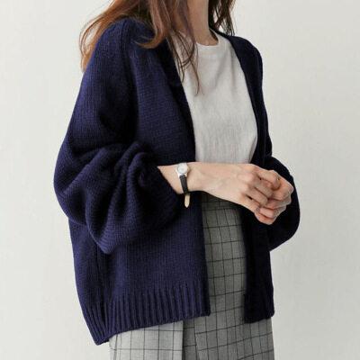 เสื้อกันหนาวไหมพรม เสื้อคลุมคาร์ดิแกน สีพื้น เนื้อผ้าหนานุ่ม สไตส์เกาหลี