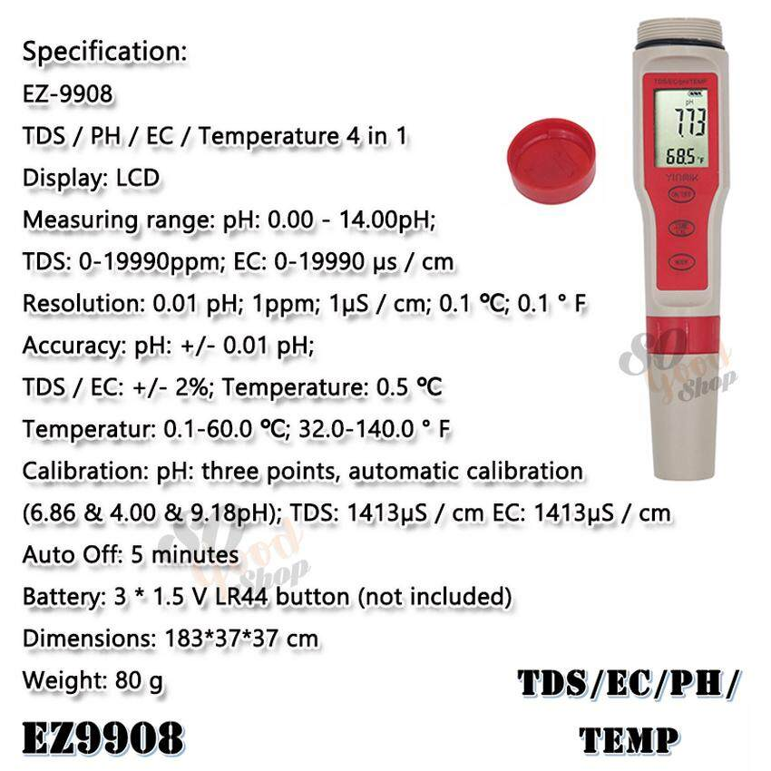 EZ-9908 4 in 1 Waterproof TDS PH EC Temperature Meter เช็คค่าpHในน้ำ  เครื่องวัด ทีดีเอส เครื่องวัดค่า EC เครื่องวัดอุณหภูมิน้ำ วัดค่าได้ 4 แบบ วัด TDS PH EC Temp. อุปกรณ์ใช้สำหรับตรวจสอบ ค่าพีเอช อีซี อุณหภูมิ เช็คคุณภาพน้ำ วัดค่าน้ำดื่ม สระว่ายน้ำ ที่ตร