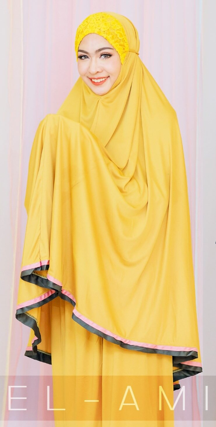 ชุดลหมาดผู้หญิง ผ้าคลุมสำหรับละหมาด ผ้าละหมาด ตะละกง telekung รุ่น ขอบ 2 แถบราคาถูก