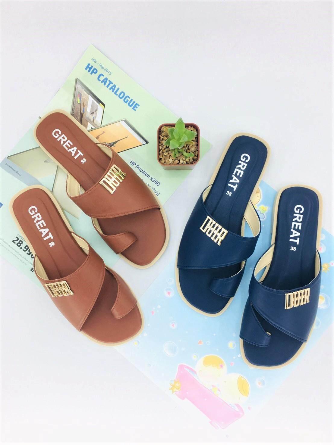 รองเท้าแตะลำลองแบบสวม รองเท้าแฟชั่น ดีไซน์ดูเรียบเก๋สวยงาม รองเท้าพื้นนิ่ม เป็นหนังPU นูบัคหนังนิ่ม สวมใส่สบาย คุณภาพคุ้มราคา มี 4 สี ให้เลือก