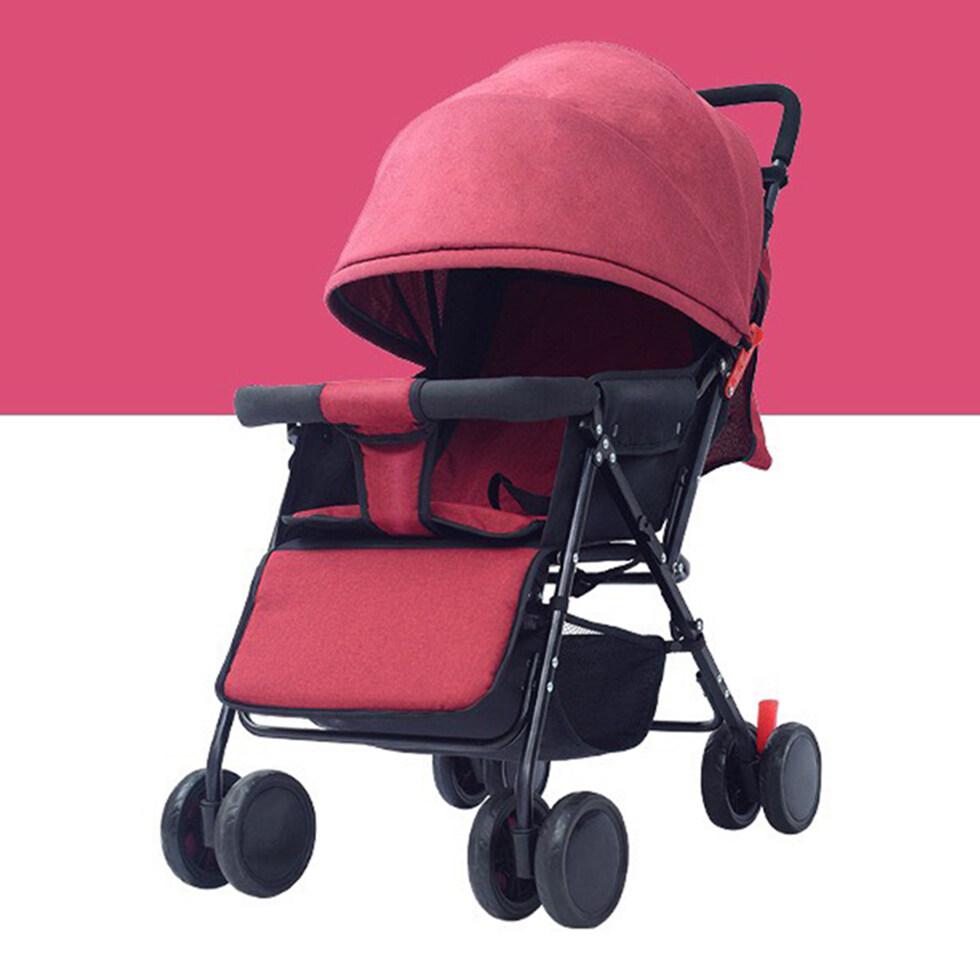 รถเข็นเด็ก 4 ล้อ รถเข็นเด็กมีหลังคา ปรับได้ 3 ระดับ น้ำหนักเบา เหมาะสำหรับเด็กแรกเกิด - 4 ปี