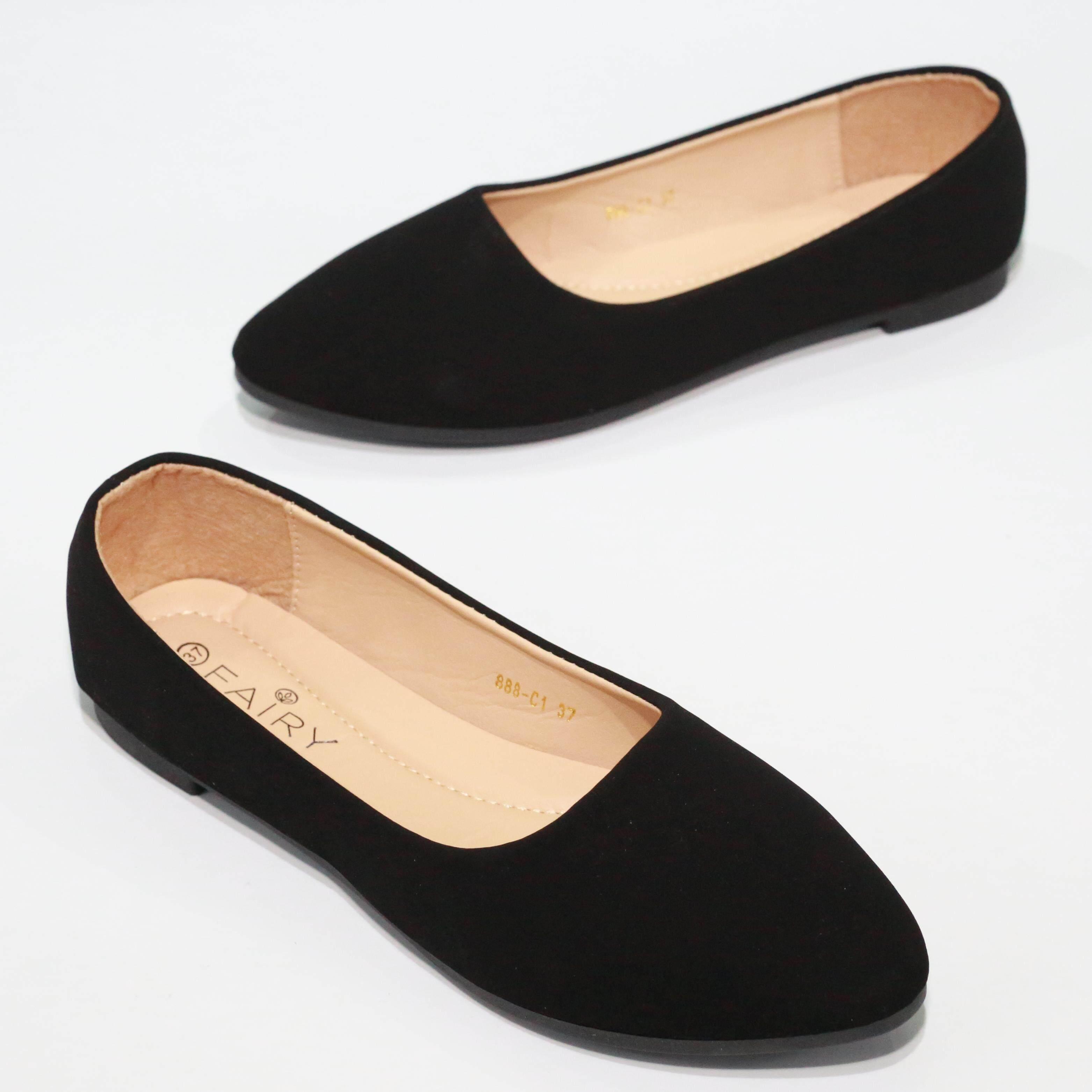 888-C1 รองเท้าส้นแบน หนังนูบัด