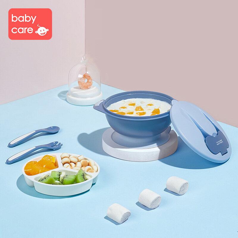 babycare ชุดถ้วยดูด เด็กชุดช้อนส้อมชามถ้วยดูด + ช้อน ส้อมลื่นต่อต้านการลื่นตกชุดชามทารก พกพาสะดวก