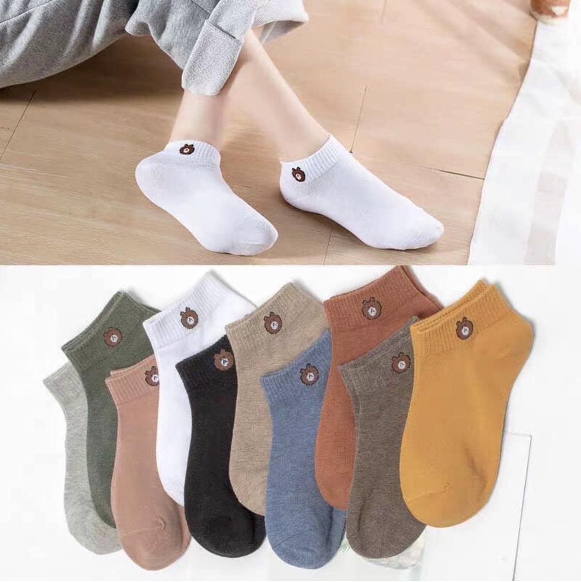 Baby Life ถุงเท้าข้อสั้น ถุงเท้า ใส่ได้ทั้งชายหญิง แพ็ค ถุงเท้าผ้าฝ้ายสไตล์เกาหลี ถุงเท้าหมีบราว พร้อมถุงหมีบราว หมีบราวไลน์ลายการ์ตูนน่ารัก รุ่น:z110.